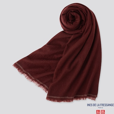 WOMEN CASHMERE BIG STOLE (INES DE LA FRESSANGE), WINE, medium