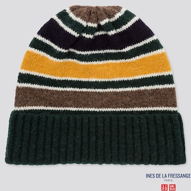 WOMEN STRIPED KNITTED BEANIE (INES DE LA FRESSANGE), DARK GREEN, medium
