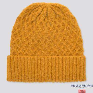 WOMEN KNITTED BEANIE (INES DE LA FRESSANGE), YELLOW, medium