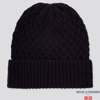 WOMEN KNITTED BEANIE (INES DE LA FRESSANGE), NAVY, medium