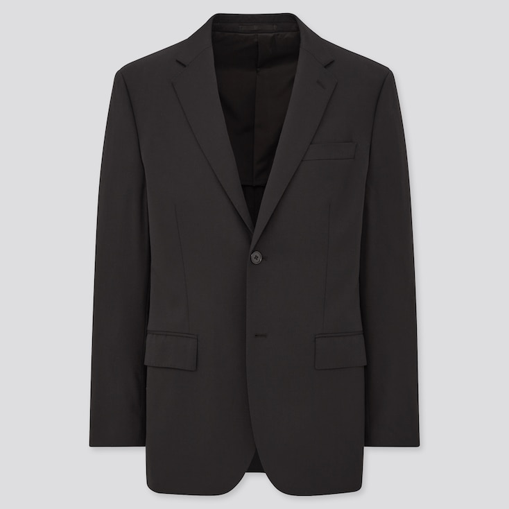 Men Stretch Wool Jacket (Online Exclusive), Black, Large