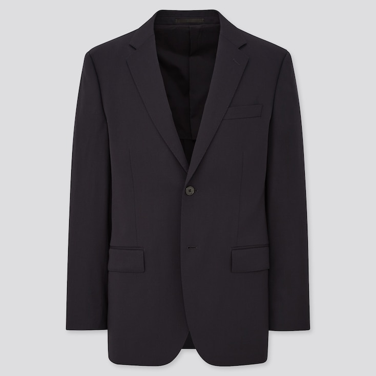 MEN STRETCH WOOL JACKET (ONLINE EXCLUSIVE), NAVY, large