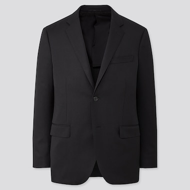 Men Stretch Wool Slim-Fit Jacket, Black, Medium