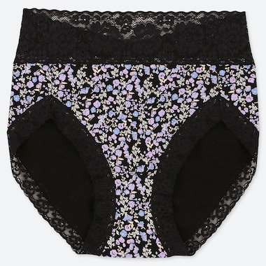 WOMEN GARDEN FLOWER HIGH-RISE BRIEFS, BLACK, medium