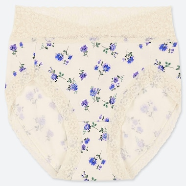 WOMEN CLASSIC FLOWER HIGH-RISE BRIEFS, OFF WHITE, medium