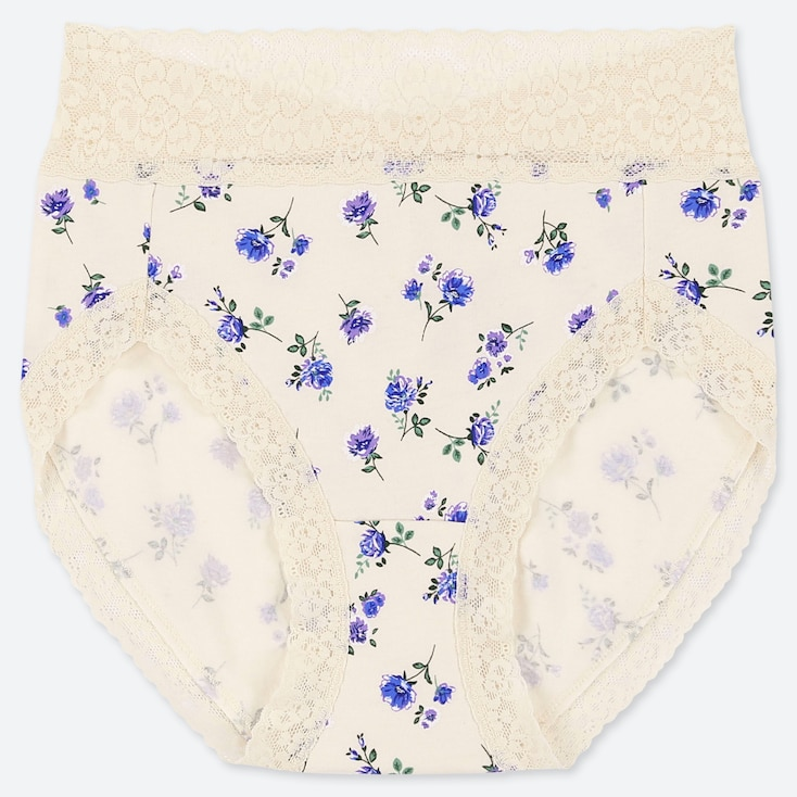 Women Classic Flower High-rise Briefs, Off White, Large