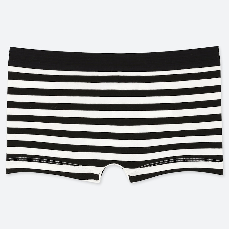 WOMEN STRIPED BOY SHORTS, BLACK, large
