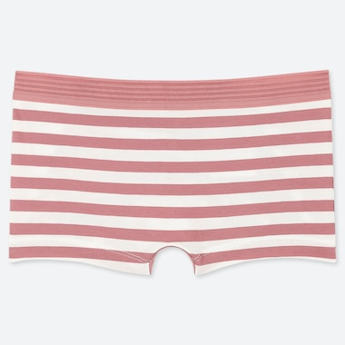 WOMEN STRIPED BOY SHORTS, PINK, medium
