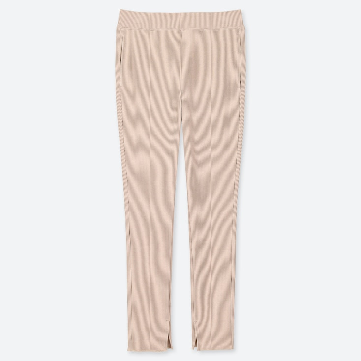 WOMEN RIBBED LEGGINGS PANTS, BEIGE, large