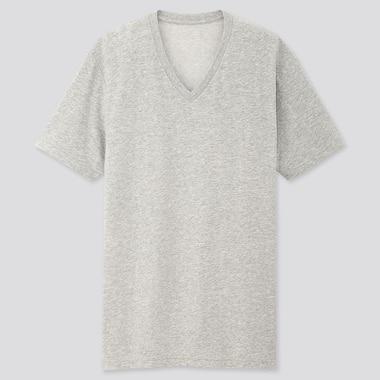 Men Packaged Dry V-Neck Short-Sleeve T-Shirt, Gray, Medium