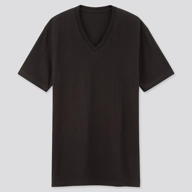 Men Packaged Dry V-Neck Short-Sleeve T-Shirt, Black, Large