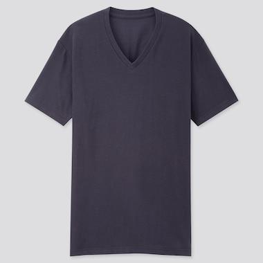 Men Packaged Dry V-Neck Short-Sleeve T-Shirt, Navy, Medium
