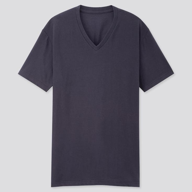Men Packaged Dry V-Neck Short-Sleeve T-Shirt, Navy, Large
