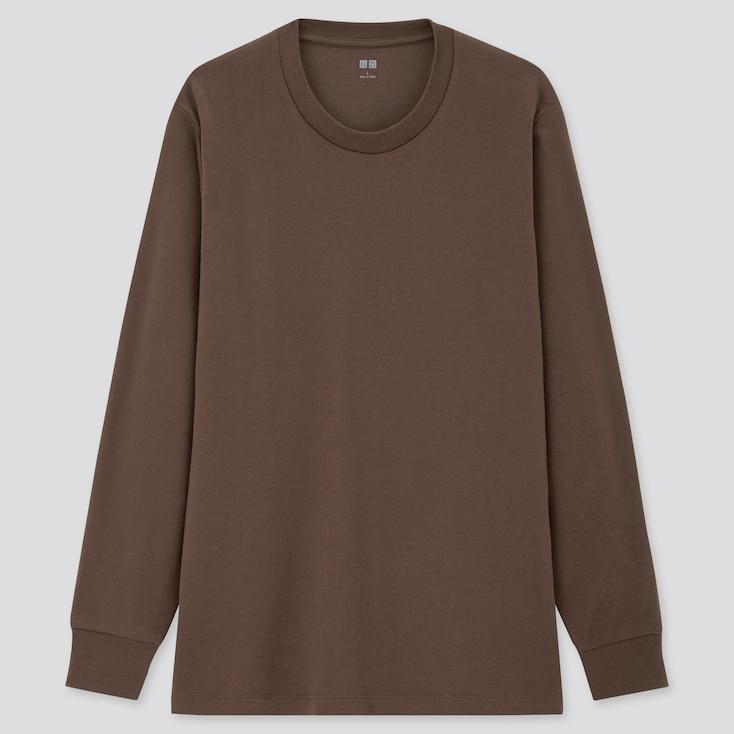 Men Soft Touch Crew Neck Long-Sleeve T-Shirt, Dark Brown, Large