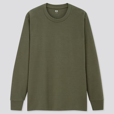 Men Soft Touch Crew Neck Long-Sleeve T-Shirt, Dark Green, Medium