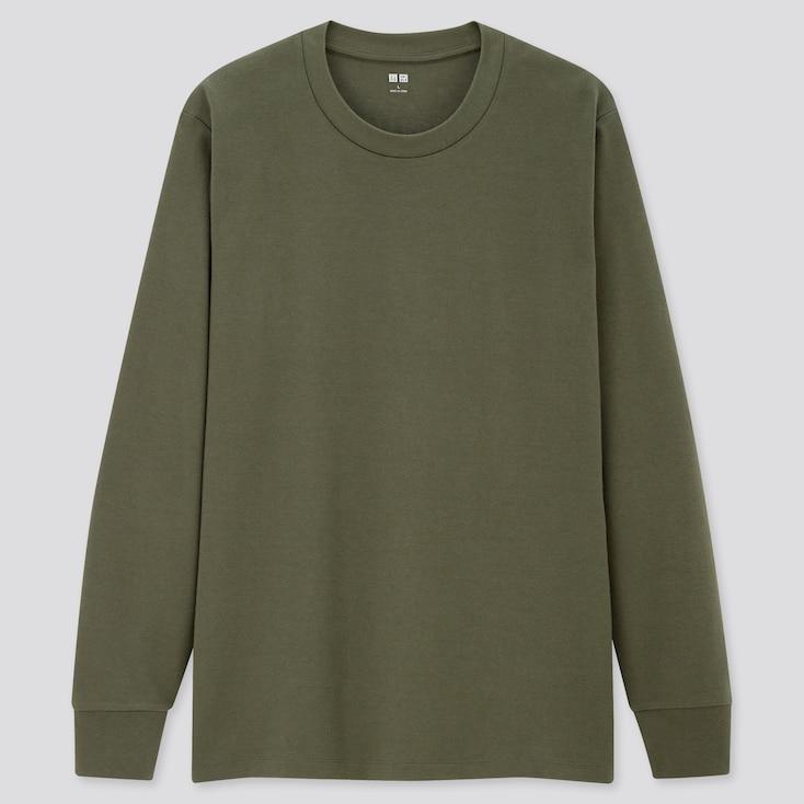 Men Soft Touch Crew Neck Long-Sleeve T-Shirt, Dark Green, Large