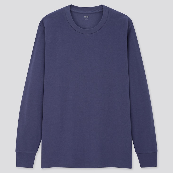 Men Soft Touch Crew Neck Long-Sleeve T-Shirt, Blue, Large
