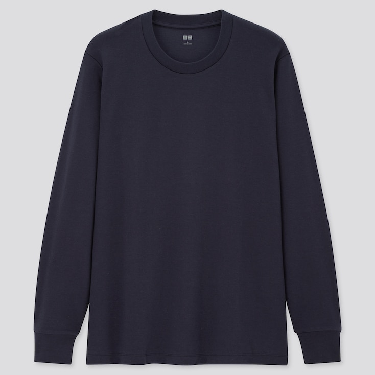 Men Soft Touch Crew Neck Long-Sleeve T-Shirt, Navy, Large