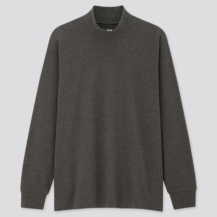 Men Soft Touch Mock Neck Long-Sleeve T-Shirt, Gray, Large