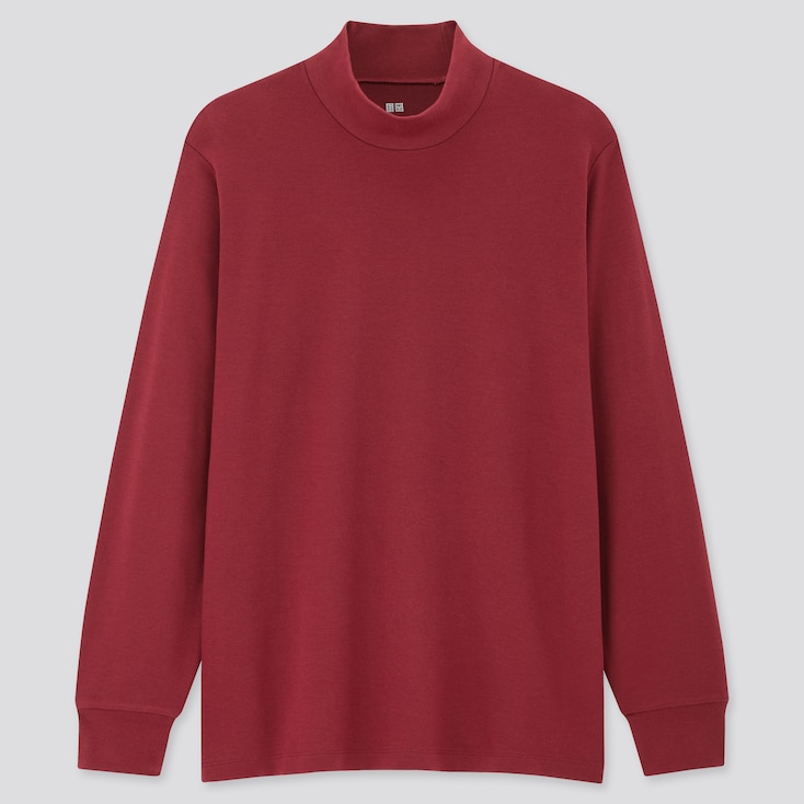 Men Soft Touch Mock Neck Long-Sleeve T-Shirt, Red, Large