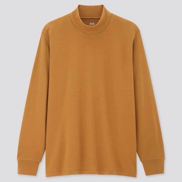 Men Soft Touch Mock Neck Long-Sleeve T-Shirt, Yellow, Large