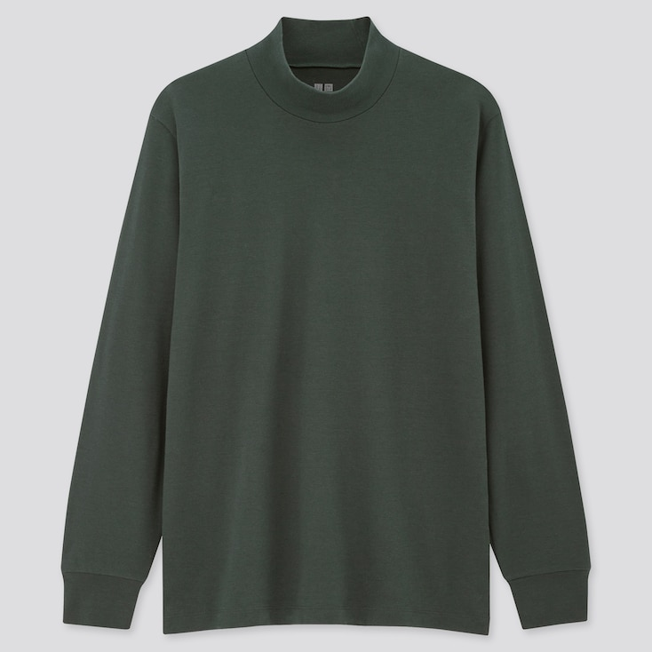 Men Soft Touch Mock Neck Long-Sleeve T-Shirt, Dark Green, Large