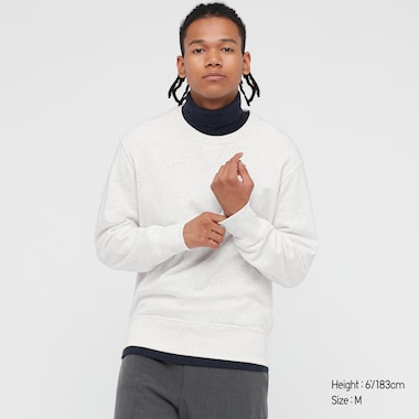 Men Long-Sleeve Sweatshirt, Light Gray, Medium