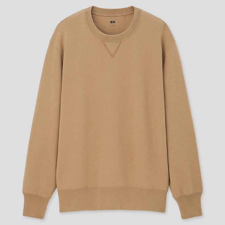 Men Long-Sleeve Sweatshirt, Beige, Large