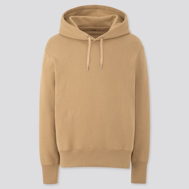 Men Long-Sleeve Hooded Sweatshirt, Beige, Medium