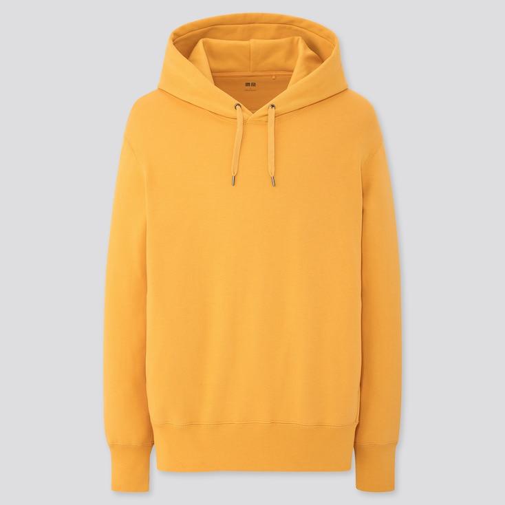 Men Long-Sleeve Hooded Sweatshirt, Yellow, Large