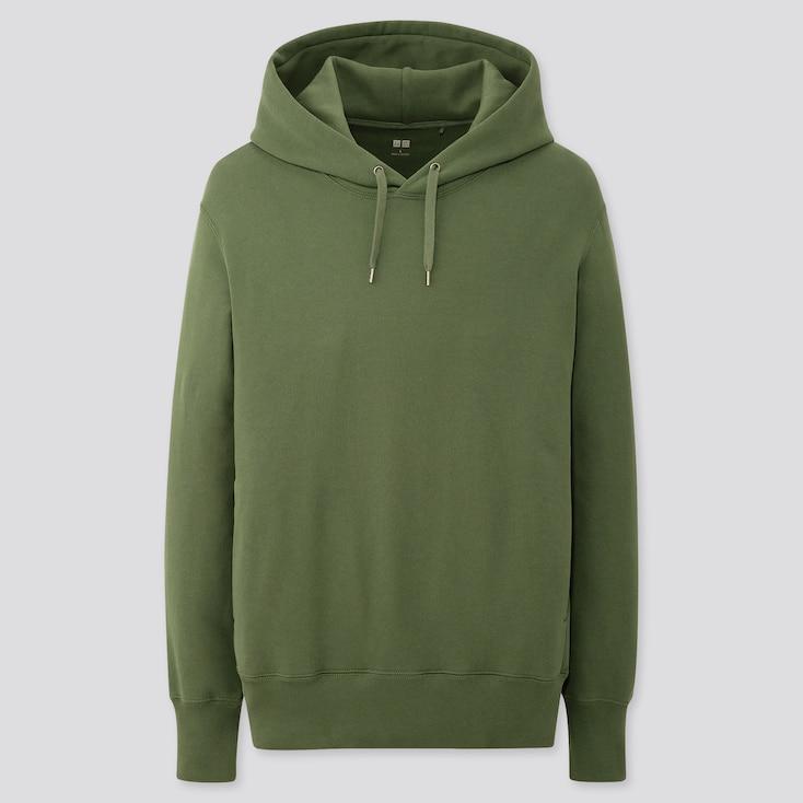 Men Long-Sleeve Hooded Sweatshirt, Dark Green, Large