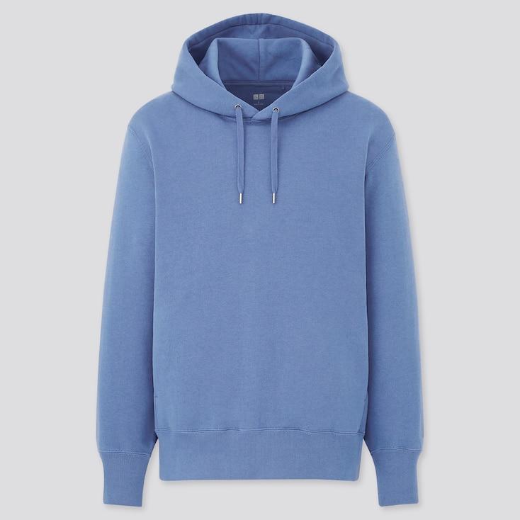 Men Long-Sleeve Hooded Sweatshirt, Blue, Large