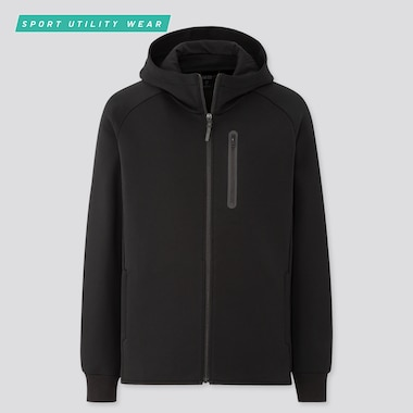 Men Dry Stretch Sweat Full-Zip Hoodie, Black, Medium