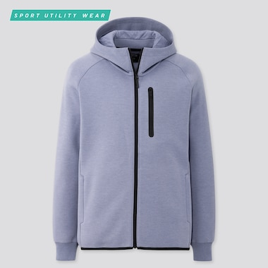 Men Dry Stretch Sweat Full-Zip Hoodie, Blue, Medium