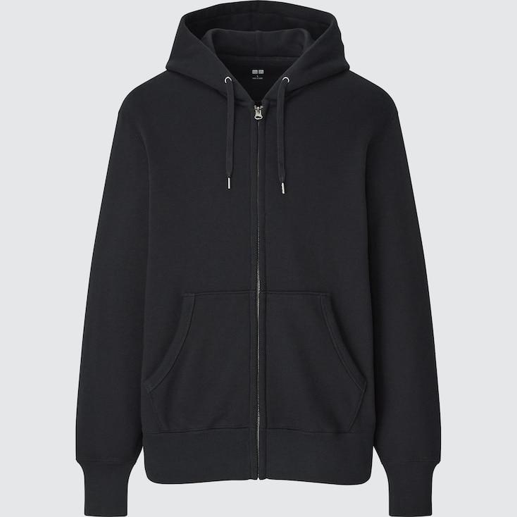 Men Sweat Long-Sleeve Full-Zip Hoodie, Black, Large