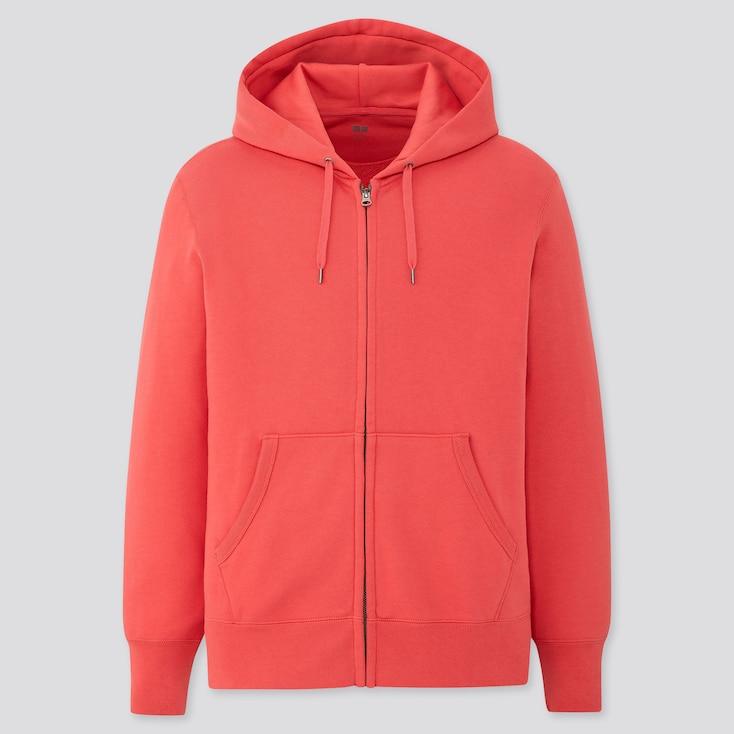 Men Sweat Long-Sleeve Full-Zip Hoodie, Red, Large