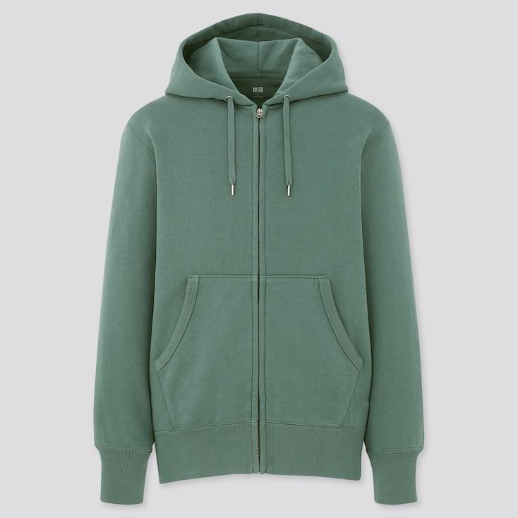 Men Sweat Long-Sleeve Full-Zip Hoodie, Green, Large