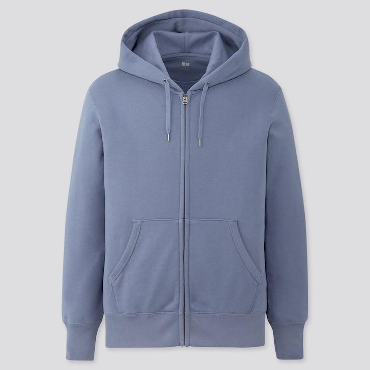 Men Sweat Long-Sleeve Full-Zip Hoodie, Blue, Large