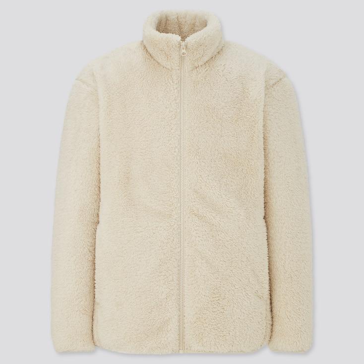 Men Fluffy Yarn Fleece Full-Zip Jacket, Off White, Large