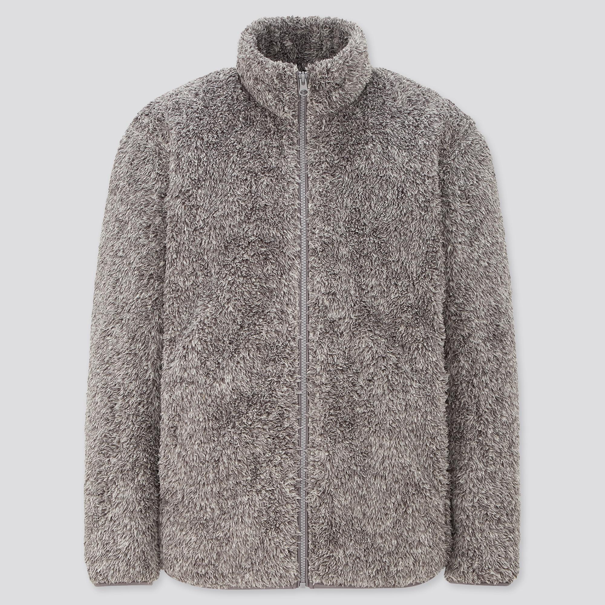 men fluffy yarn fleece full-zip jacket