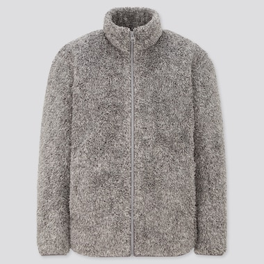 Men Fluffy Fleece Zipped Jacket