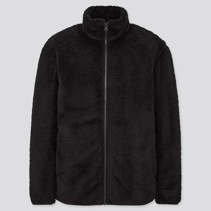 Men Fluffy Yarn Fleece Full-Zip Jacket, Black, Large