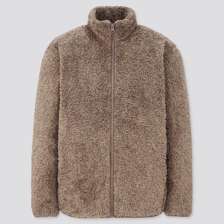 Men Fluffy Yarn Fleece Full-Zip Jacket, Beige, Large