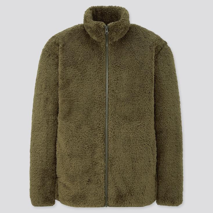 Men Fluffy Yarn Fleece Full-Zip Jacket, Olive, Large