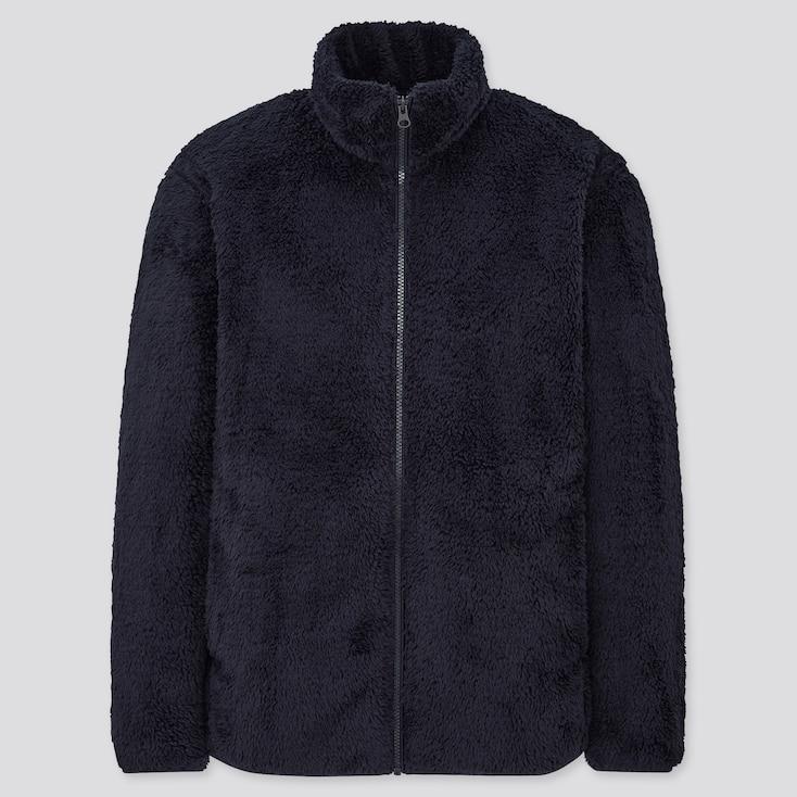 Men Fluffy Yarn Fleece Full-Zip Jacket, Navy, Large