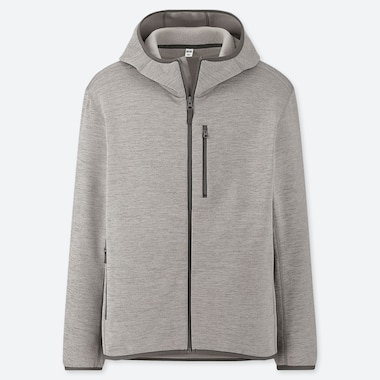 MEN STRETCH FLEECE LONG-SLEEVE FULL-ZIP HOODIE (ONLINE EXCLUSIVE), GRAY, medium