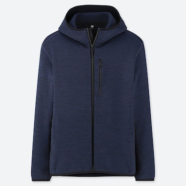 MEN STRETCH FLEECE LONG-SLEEVE FULL-ZIP HOODIE (ONLINE EXCLUSIVE), NAVY, medium