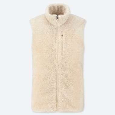 MEN FLUFFY YARN FLEECE FULL-ZIP VEST, OFF WHITE, medium
