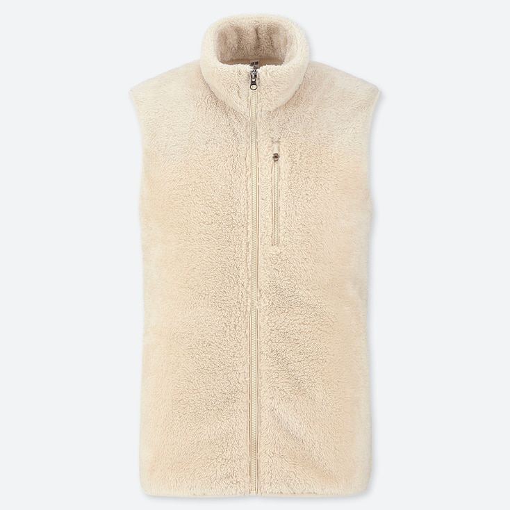 MEN FLUFFY YARN FLEECE FULL-ZIP VEST, OFF WHITE, large