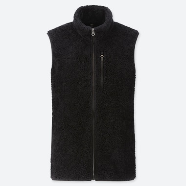MEN FLUFFY YARN FLEECE FULL-ZIP VEST, BLACK, medium